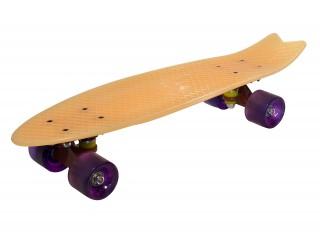 Мини круизер Fish Skateboard 22 светло-персиковый светящийся