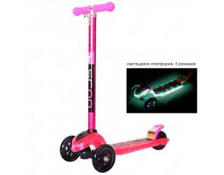 Самокат Y-Scoo Maxi Laser Show Metallic розовый