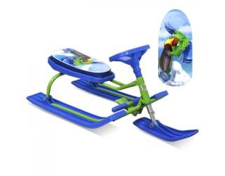 Снегокат Барс Шустрик 108 Попугай зелено-синий